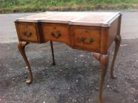Awesome rare, antique queen Anne burr walnut low boy/ladies writing desk/ Dressing table