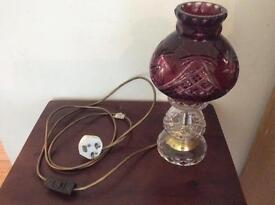Crystal glass lamp with cranberry glass shade