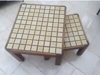 COFFEE TABLE NEST OF TWO. Hand made. Mahogany with tiled tops