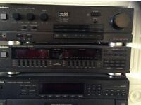 Technics stereo stack ,amp graffic equaliser cd tuner tape and 4 speakers