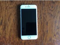 i Phone 6 16GB; unlocked; white/silver; toughened glass screen; boxed