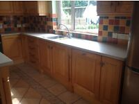 Ash kitchen and island unit by Greenhill Kitchens