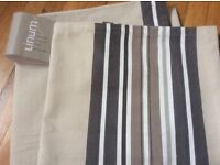 Large contemporary rectangle tablecloth Grey striped High quality Cotton linen 280cm X 170 cm BNWT