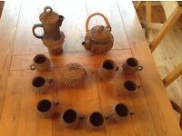 Rustic Brown Pottery Tea/Coffee Set