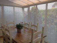 White upvc wood effect conservatory blinds