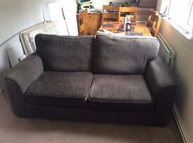 BROWN LARGE 2 SEATER FABRIC SOFA IN VERY GOOD CONDITION ...FREE LOCAL DELIVERY