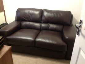 Leather chocolate brown two seater sofa