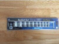 Kinchrome metric socket set on clip rail - brand new, unopened.