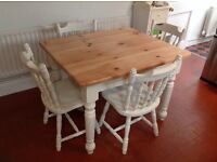 Refurbished Pine Farmhouse Table & 4 Chairs in Annie Sloan chalk paint