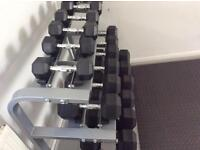 York Rubber Hex Dumbbells cast iron Weight Set and Racks