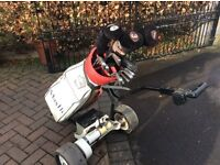 Electric golf trolley plus bag and full set of golf clubs