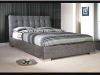 """DOUBLE CHENILLE FABRIC BED FRAMES AND 7"""" MATTRESS £99"""