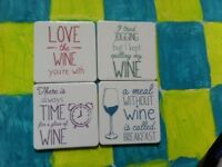 Wine themed coasters.