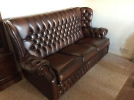 Hand made Saxon leather sofa in antique brown