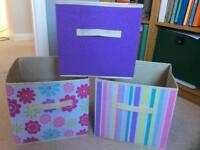 Set of 3 canvas storage boxes