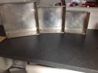3 cake tins 22/27/32 cms in good condition