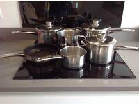 Stellar Saucepans, set of 6 includes, 3 saucepans, milk pan, stockpot and frying pan