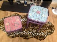 2x upcycled, shabby chic stools