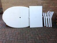 White PVC extending garden table