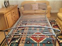 Double bed frame. Silver metal