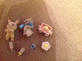 Sylvanian Family Baby Set - Cat and Rabbit