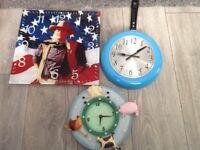 3 clocks job lot, john wayne, kitchen frying pan, farm animals