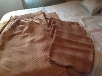 Large pair of lined curtains and 6 matching cushion covers.
