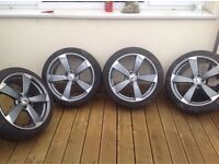 Metallic blue/grey alloy wheels