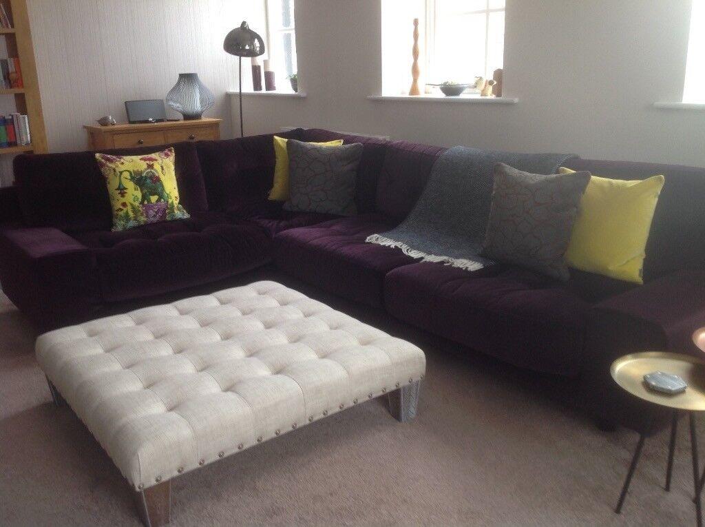 Habitat Purple Velvet Hendricks Corner Sofa In Halifax