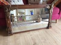 Wooden mantle mirror