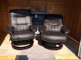 Reclining/swivel chairs,chocolate,VGC £150 Ono