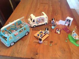 Sylvanian ice cream van / camper van/ porta loo / slyvanian family + couple/ loads accessories