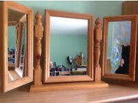 Pine Triple Dressing Table Mirror