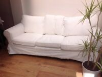 Ikea Ektorp white three seater sofa removable washable covers