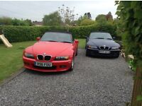 BMW Z 3 2.8cc red mechanically sound, age related marks on body work, rear window not very good
