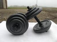 35kg Pro Power Cast Iron Adjustable Dumbbell Set