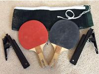 Table Tennis Net & Bat Set