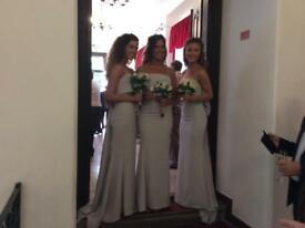 3 bride maids dresses and sandals to match