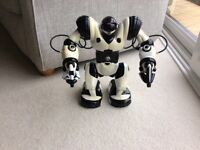 Black and White Robosapien Robot with Remote Control.