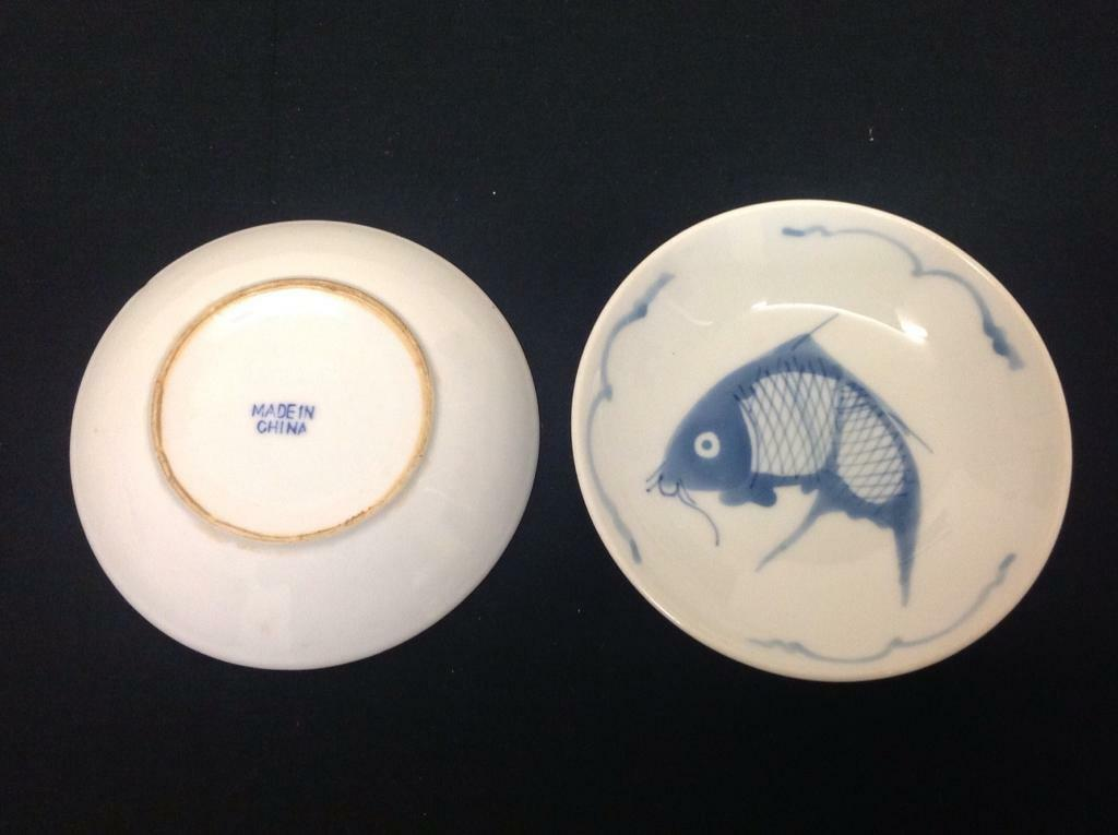 Blue koi bowls.