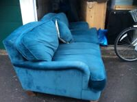 Velvet sofa. Used but lovely comfy vintage styled sofa.