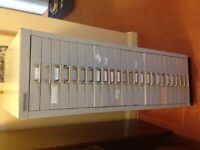 24 drawer narrow Sisley filing cabinet with 3cm deep drawers. Good condition