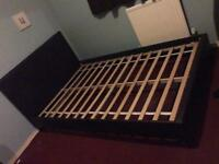 Small double brown faux leather bed