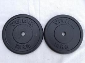 10 x 10kg York Standard Cast Iron Weights
