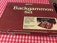 Backgammon game in leatherette case. Excellent contition