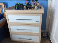 Mamas and papas wardrobe and drawers with changing top on drawers