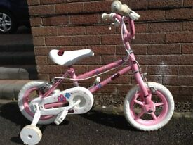 """Pink Angels 12"""" Bike with stabilisers"""