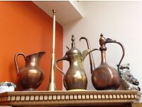 Brass and copper pots and hunting horn