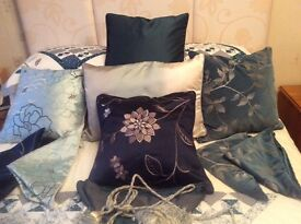 Variety of blue cushions