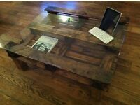 Large Rustic Solid Wood With Glass Top Coffee Table